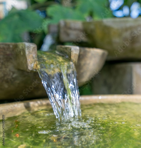 Tropical garden. Stone bowl with water flowing - 286870019