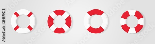 Photo Lifebuoy icons set, equipment of rescuers to save drowning people, vector graphic deign element for business and holiday illustration