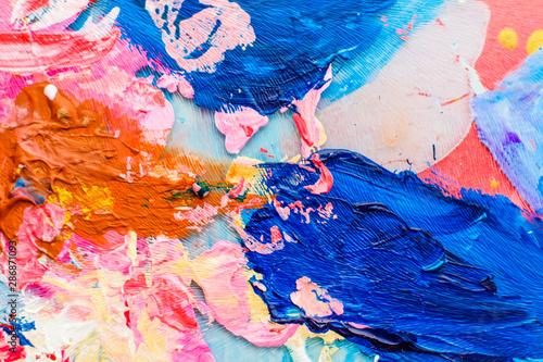 Abstract acrylic paint strokes, art brush flatlay background Fototapeta