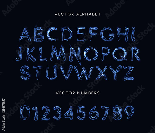 Fotografía Blue lightning style letters and numbers set