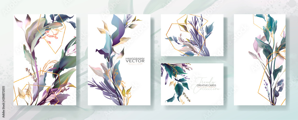 Fototapeta Wedding invitation frame set; flowers, leaves, watercolor, isolated on white. Sketched wreath, floral and herbs garland with green, greenery color. Handdrawn Vector Watercolour style, nature art.