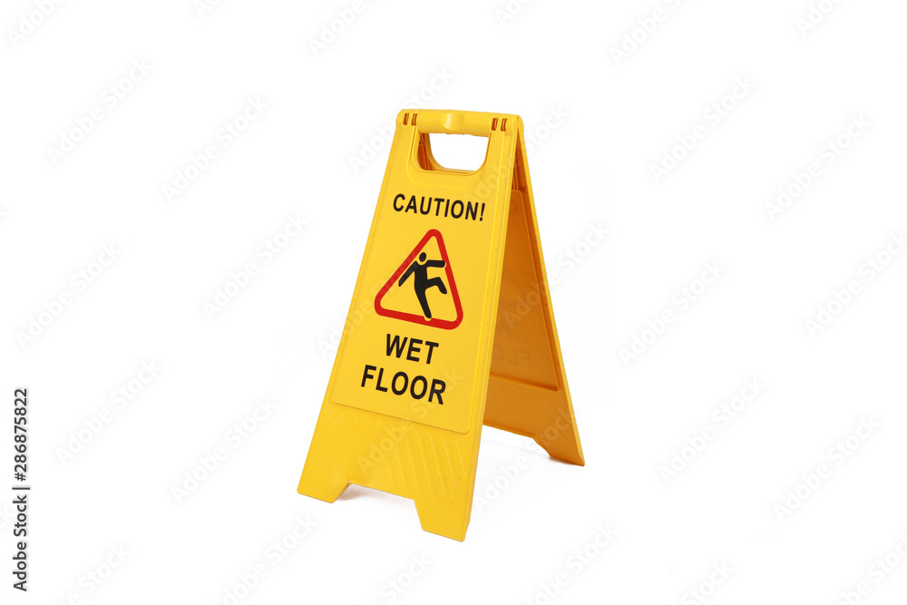 Fototapeta Yellow wet floor sign isolated  on white  - cleaning service  safety sign
