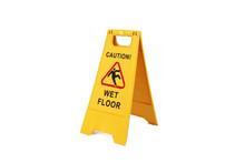 Yellow Wet Floor Sign Isolated...