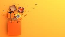 Shopping Bag, Gift Box, Confetti On Orange Background. Design Creative Concept Of Happy Halloween Celebration Holiday. 3D Rendering Illustration.