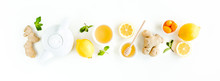 Herbal Tea With Mint, Ginger, Lemon, Honey And Other Herbs On White Background. Flat Lay, Top View.