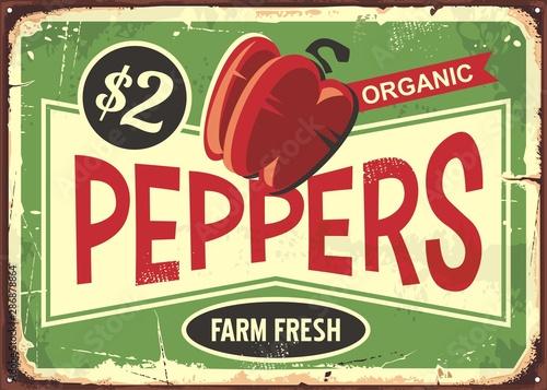 Obraz na plátne Red peppers vintage metal old sign for farm fresh vegetables