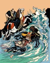 Two Samurai Horsemen Crossing ...