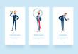 Leinwanddruck Bild - 3d illustration. Businessman Billy  looking in spyglass and magnifier. Illustration set, business market research concept.