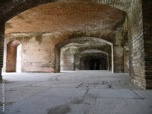 Medium close up of brick arches inside Fort Jefferson at the Dry Tortugas National Park in Florida.