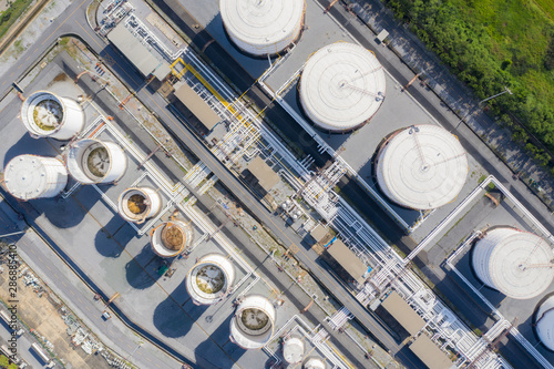 Fényképezés  Aerial view of Chemical industry storage tank and tanker truck In wailting in Industrial Plant to tranfer oil to gas station