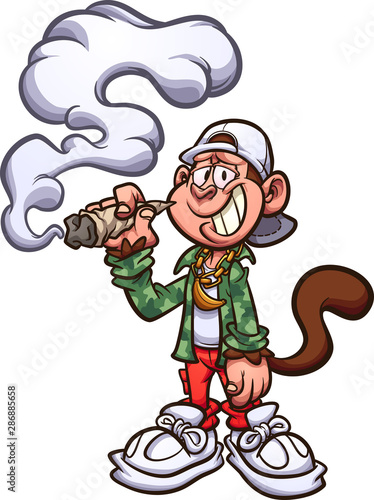 Cool Cartoon Monkey With Swag Smoking A Marijuana Joint Clip Art Vector Illustration With Simple Gradients All In A Single Layer Buy This Stock Vector And Explore Similar Vectors At Adobe