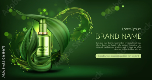 Cosmetics Tube Mock Up Ad Banner Organic Beauty Product Natural Skin Care Cream Or Gel Bottle Mockup On Green Background With Water Splashes And Leaves Eco Skincare Cosmetic Realistic 3d Vector