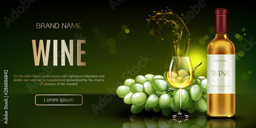 Fotografía  White wine bottle, glass with splash and bunch of grapes mockup banner