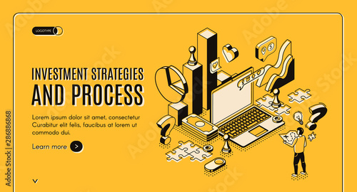 Fototapeta Investment strategies and process isometric web banner. Businessman stand at huge laptop with business icons and charts, financial instruments for money wealth growth 3d vector landing page, line art obraz