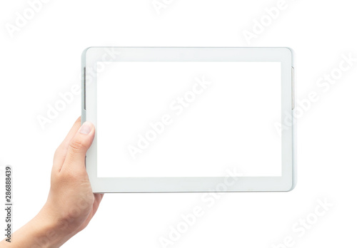 Fotografiet  Male hand holding the white tablet pc computer with blank screen isolated on whi