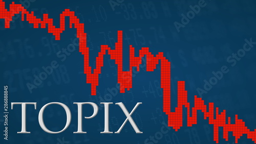 The Japanese Tokyo Stock Price Index TOPIX is falling Tapéta, Fotótapéta