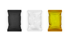 White, Black And Gold Pillow Bag Packages For Chips, Snacks Or Candys