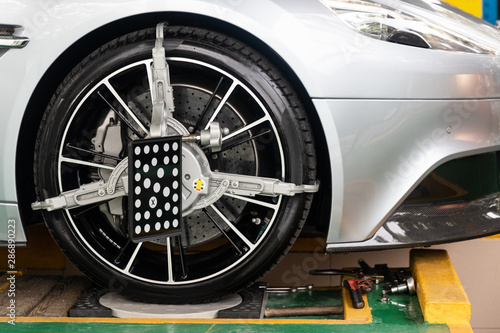 Car wheel clamp with wheel align device for wheel alignment Canvas Print