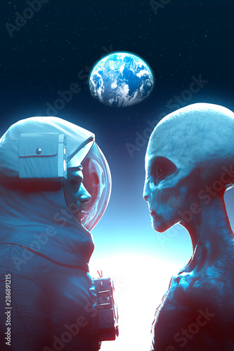 Canvas-taulu Face to face between alien grey and astronaut with the earth in backround - 3D r