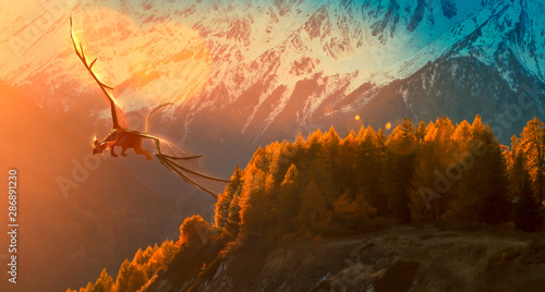 Fotografia, Obraz Black dragon flying on a golden sunset over the mountain - photo manipulation -