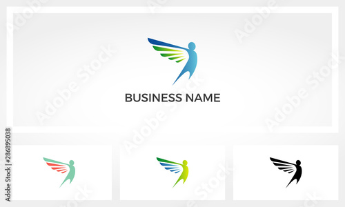 Fotografiet Human With Wing Trying To Fly Logo