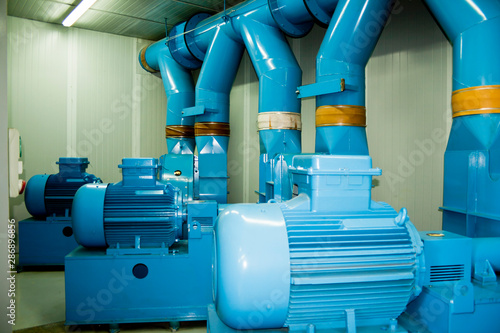 Pumping motors of a pneumatic urban solid waste collection station Canvas Print