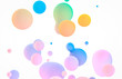 canvas print picture Abstract colorful 3d art background. Holographic floating liquid blobs, soap bubbles, metaballs.