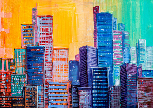 Pinturas sobre lienzo  Abstract painting of urban skyscrapers.
