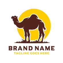 Desert Camel Silhouette Logo Design