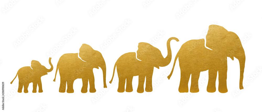 Fotografía  Set of Golden Elephant Silhouettes. Vector