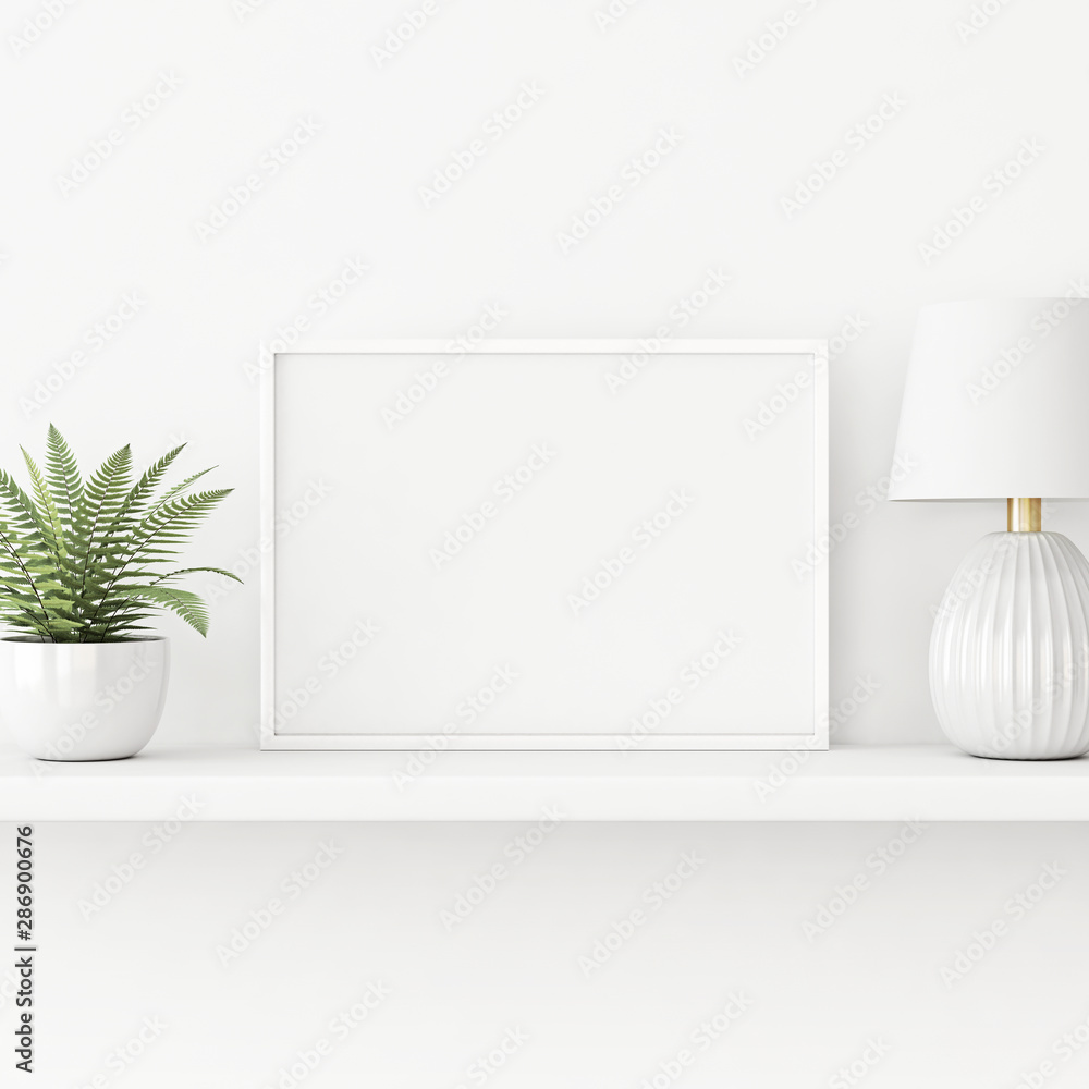Interior poster mockup with horizontal white frame standing on the table with plant in pot and lamp on empty wall background. 3D rendering, illustration.