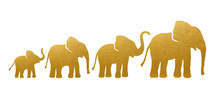 Set Of Golden Elephant Silhoue...