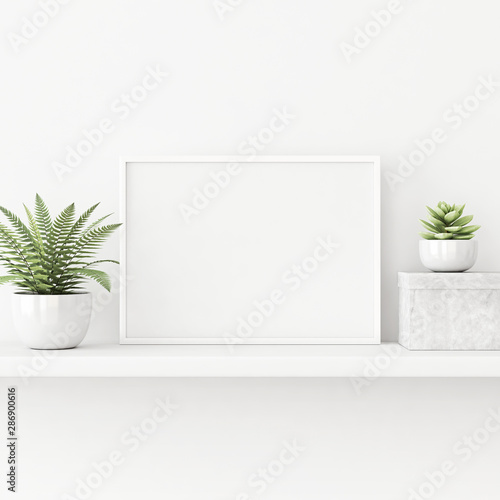 Obraz Interior poster mockup with horizontal white frame standing on the table with plants in pots on empty wall background. 3D rendering, illustration. - fototapety do salonu