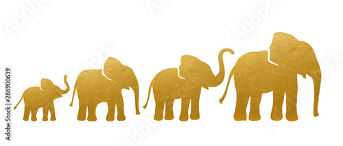 Photo  Set of Golden Elephant Silhouettes. Vector