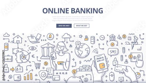 Canvas Prints Textures Online Banking Doodle Concept