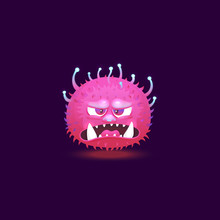 Angry Purple Pink Monster With...