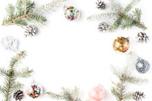 Christmas Decorations. Christmas, Winter, New Year Concept. Fir Tree Branches, Pine Cones, Xmas Balls And Decorations On White Background. Flat Lay, Top View, Copy Space