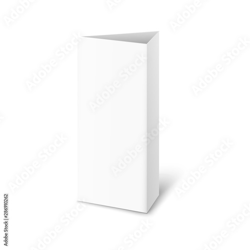 Valokuva Realistic standing paper brochure mockup - isolated triangle trifold stand for r