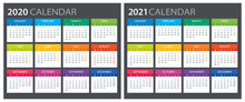 2020 2021 Calendar - Illustration. Template. Mock Up
