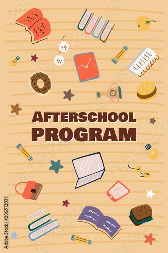 Informational poster afterschool program cartoon. Canvas Print