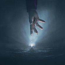 Hand Of Jesus And Glowing Man