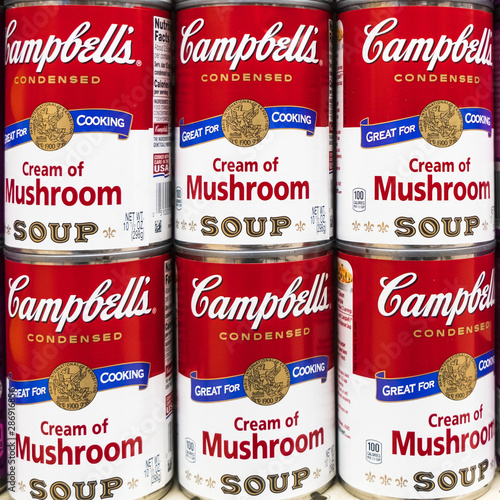 Fotografija August 29, 2019 Sunnyvale / CA / USA -Close up of tin cans of Campbell's mushroo