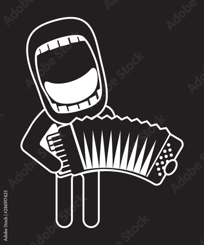 Fotografia, Obraz big mouth accordionist singing and playing accordion