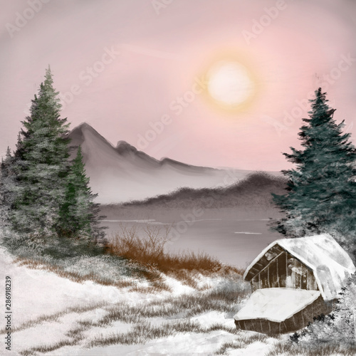 Rose clair / pale winter landscape with a house, digital painting