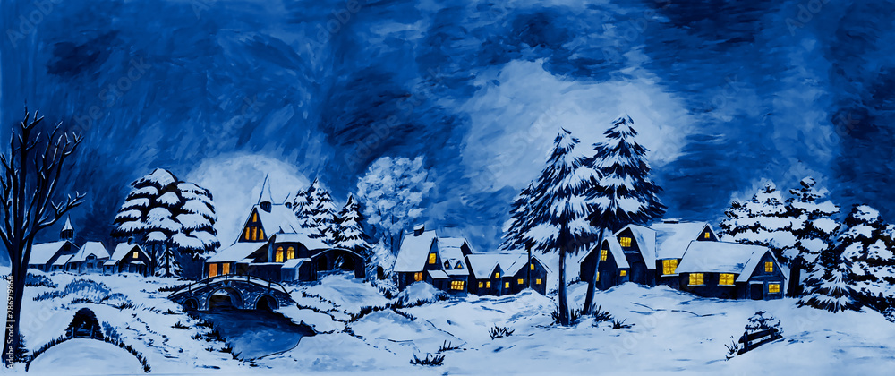 Snowy winter village landscape fairy-tale