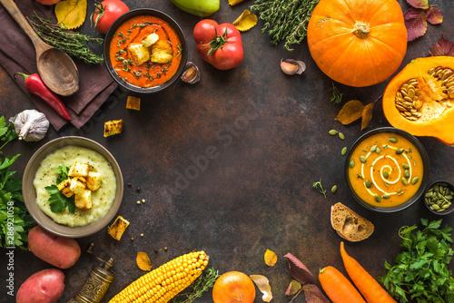 Obraz Autumn soups set - fototapety do salonu