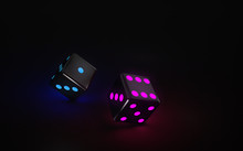 Dices With Futuristic Neon Lights On The Black Backgound - 3D Illustration