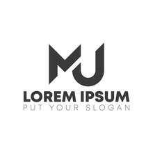 Mj Or Mu Letter Logo Design Template