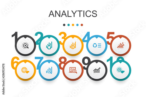 Photo sur Toile Les Textures analytics Infographic design template.linear graph, web research, trend, monitoring icons