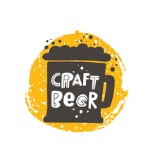 Craft Beer Flat Vector Banner Template. Brewery Beverage With Foam In Glass Silhouette With Stylized Lettering. Fresh Ale In Vintage Mug On Yellow Round Frame. Pub Drink Advert Poster Design Element